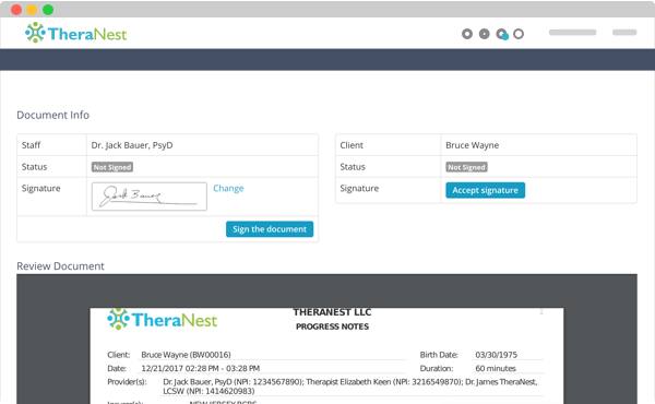 document management in theranest practice management software
