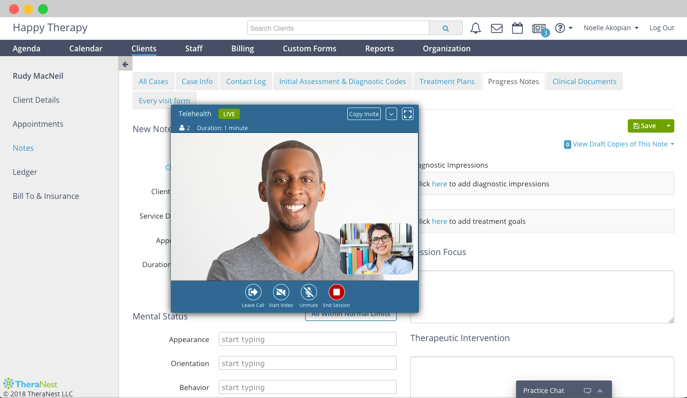Telehealth Software for Therapists   Free Trial   TheraNest