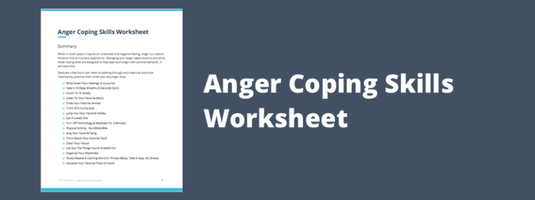 Coping Skills Worksheets & Techniques for Anger Management