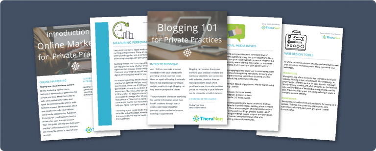 Examples of the resources contained in TheraNest's free private practice therapy marketing resource library
