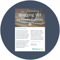 Screenshot of TheraNest's blogging 101 portion of our marketing resource library for private therapy practices